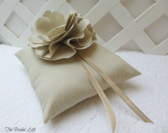 Rustic Wedding Ring Pillow, Ring Bearer Pillow, Natural Beige Wedding Decor, Matching Items Available