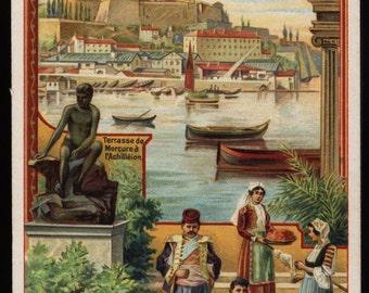 Original Vintage antique Liebig trade card great for scrapping clip art dates 1890-1900 Mediterranean Port ships boats