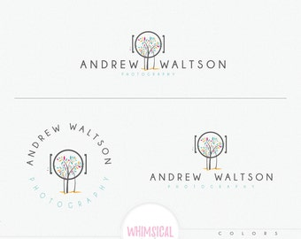 Tropical Camera tree, generic photography branding logo kit, gender neutral, male and female photography logo trees coastal design bright