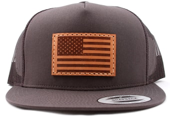 USA FLAG Authentic Leather Patch 5-panel Snapback