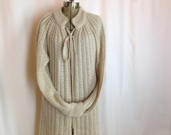 RESERVED FOR A FRIEND Vintage Long Sleeve Duster Sweater / Beige Floor Length Cardigan / Knit Cardigan Sweater Coat / 70s Boho Long Sweater