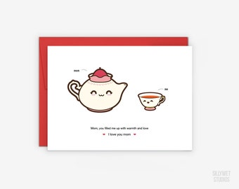 Cute Tea Pot and Tea Cup Mother's Day Card, Mom Appreciation Card, Thinking of You Mom Card, Happy Birthday Mom Card