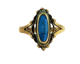 Vintage Brass and Turquoise Ring, Gold and Blue Ring, Gold and Turquoise Ring