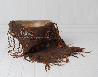 Newborn Digital Background - Brown Felted Bowl
