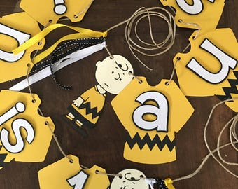 Charlie Brown Birthday Banner, Snoopy Banner, Peanuts Party, Charlie Brown Banner