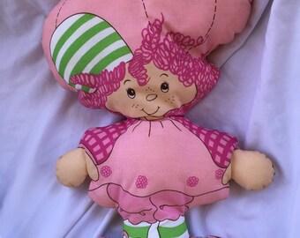 Vintage RASPBERRY TART Pillow Fabric Cloth Doll Strawberry