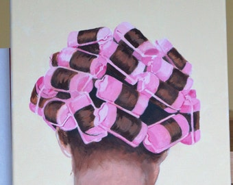 """Acrylic Painting """"Curler Lady"""" 16 x 20"""