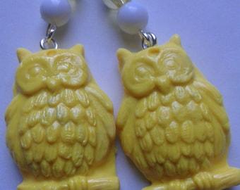 Yellow Polymer Clay Owl Earrings