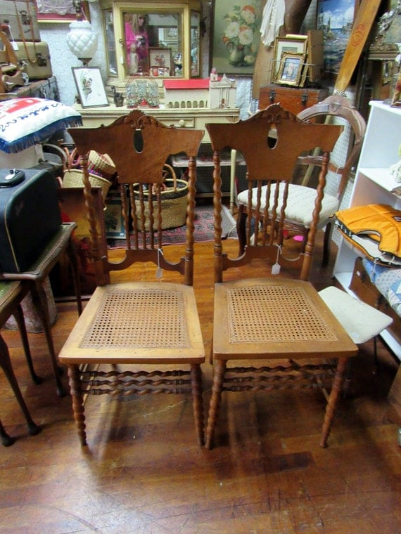 Pair maple chairs beautiful birdseye maple with rattan seats