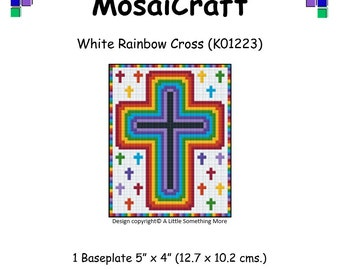 MosaiCraft Pixel Craft Mosaic Art Kit 'White Rainbow Cross' (Like Mini Mosaic and Paint by Numbers)