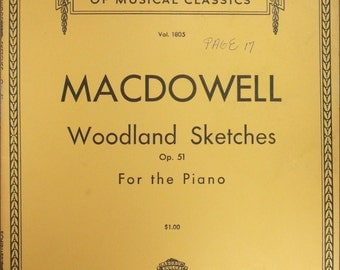 """1939 Sheet Music Book, """"Woodland Sketches, Opus 51, For The Piano"""
