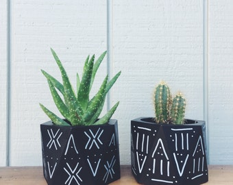 Hand Painted mud cloth design geometric wooden planters
