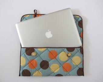 13 inch handmade spotty quilted Laptop Case