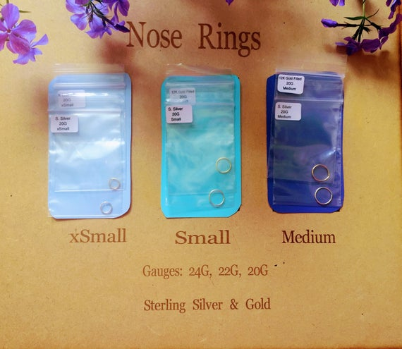 Feminine Nose Ring - Silver Nose Ring - Gold Nose Ring - 20G - 22G - 24G - Tiny 6mm - Small 9mm - Loose 11mm - Large 13mm - Nose Hoop Ring