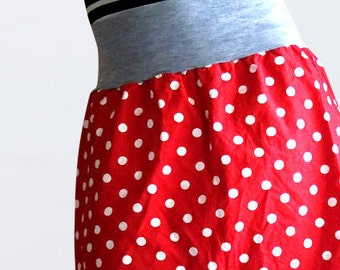 Red cotton midi skirt with polka dots  in retro style, summer skirt, casual skirt, flared