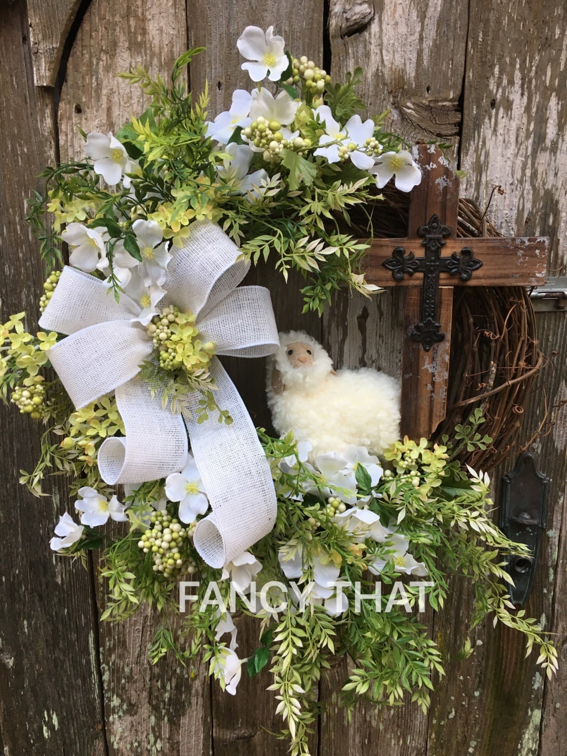 Religious easter wreath lamb cross by