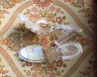 50s Lucite Glass Slipper sz 5 1/2