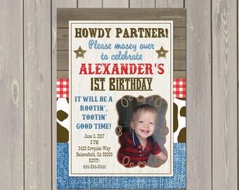 Cowboy Birthday Invitation, Western Cowboy Birthday Party Invitation, Boys Cowboy Photo Invitation, Printable or Printed