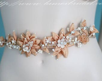 Custom Made Champagne and Golden Flower Bridal Belt Wedding dress Sash Accented with Bling and pearls