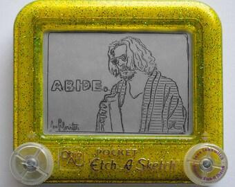 The Dude The Big Lebowski Jeff Bridges signed Etch A Sketch art print (pick your size!)