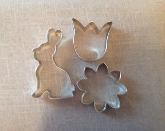 Spring Time Cookie Cutters, Set of 3, Bunny, Daisy, Tulip