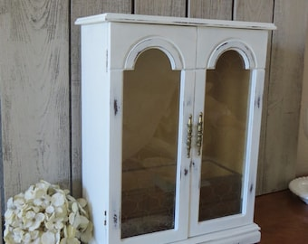 Large Shabby White wood Jewelry Box Painted Wood Jewelry.
