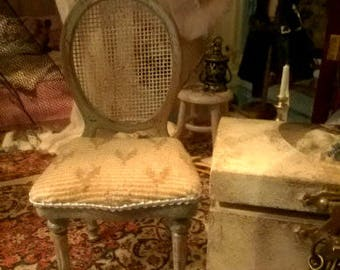 Dollhouse Chic aged French chair in the shabby style 12th scale miniature