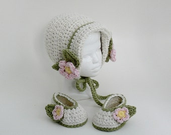 Crochet Pattern - Baby Hat - Baby Bonnet- Baby Slippers, Baby Booties  Preemie, Newborn, 3 Month, 6 Month, 12 Month, Meadowvale Studio # 104