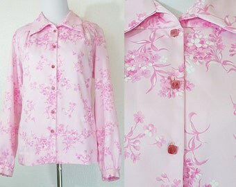 SALE 1970s Satin Pink Floral Blouse L/XL