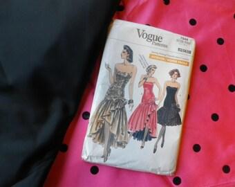 Vintage 1980's Vogue Evening Dress Pattern 7644 Ready Cut Pink Black Spot Fabric