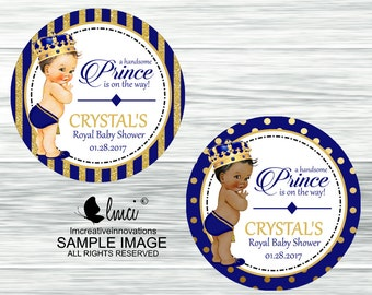 Blue and Gold Royal Prince Favor Tags, Royal Prince Stickers