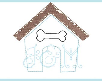 Dog House Vintage Stitch Embbroidery Design 5X5