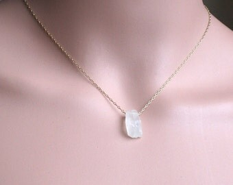 Raw White Moonstone Necklace - Natural Moonstone Gold Filled or Sterling Silver Necklace - June Birthstone - Moonstone Jewelry