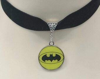 Handmade Avengers logo choker necklace 16mm black velvet ribbon Batman Captain America Superman 5 designs.