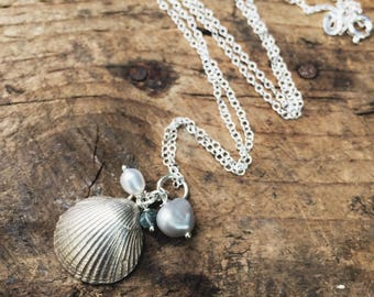 Sterling silver cockle shell cluster necklace with freshwater pearls