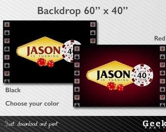 Casino Vegas Style Backdrop - Printable - 30 - 40 - 50 - 60 - Poker