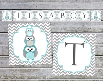Boy Baby Shower Banner It's a Boy Decorations Decor Owl Baby Shower Banner (536) Instant Download