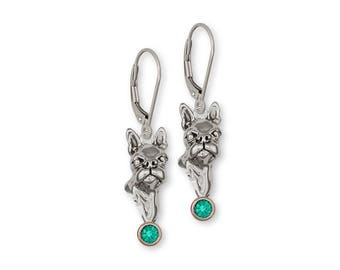 Boston Terrier Earrings Jewelry Sterling Silver Handmade Dog Earrings CH3-SE