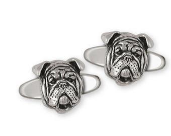 Bulldog Cufflinks Jewelry Sterling Silver Handmade Dog Cufflinks BD19-CL