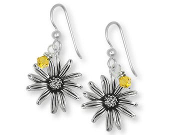 Black Eyed Susan Earrings Jewelry Sterling Silver Handmade Flower Earrings BES1-BDE