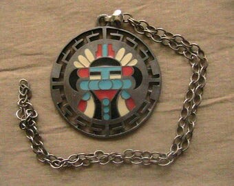 Gold Crown, Gold Crown Necklace, Enamel on Pewter Southwest Native American Pendant Necklace.