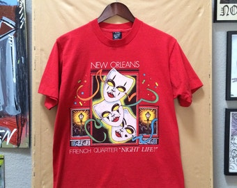 """Vintage New Orleans French Quarter """"Night Life!"""" Screen Stars Best T-Shirt Made in USA 1989"""