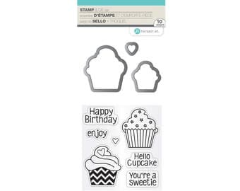 Hampton Art Stamp & Die Set CUPCAKE Happy Birthday Your'e a sweetie Hello cupcake Clear stamps 10 pcs SC0791 - cc22