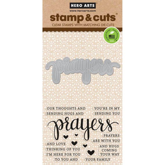 "Hero Arts Stamp & Cut PRAYERS clear 3""x4"" Stamp with metal Die set - DC183 cc02"