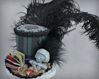Haunted House Mini Top Hat, Haunted Mansion Mini Top Hat, Haunted Mansion Hat, Halloween Hat,  Mini Top Hat Fascinator, Mini Hat Headband