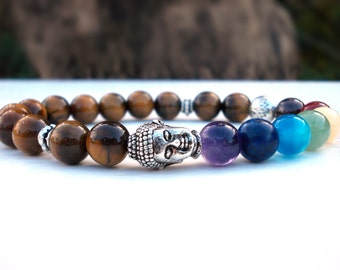Lotus Buddha bracelet, Chakra bracelet, Buddha bracelet, Tiger Eye bracelet, Lotus flower bracelet, Yoga bracelet, Meditation bracelet