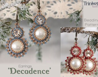 Tutorial for beadwoven earrings 'Decadence' - PDF beading pattern - DIY