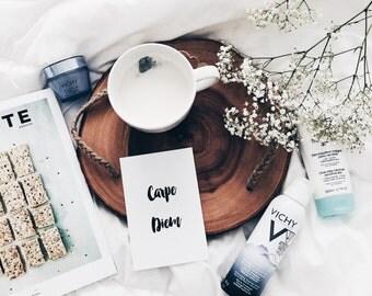 CARPE DIEM | carpe diem card, seize the moment , black and white card, carpe diem black and white, calligraphgy