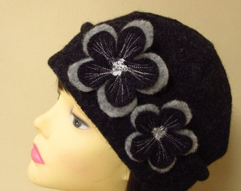 Black winter hat, flower hat, ladies hat