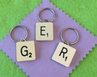 Genuine Vintage Scrabble Tile Keyring. Fun, Quirky Gift, Present. Free UK p&p